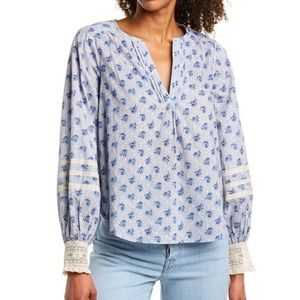 LOVE SAM Blue Floral & Lace Long Sleeve Top